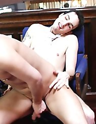A blonde jock gets on his knees to suck a hard...