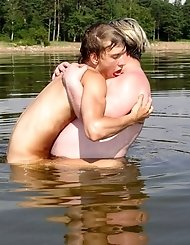 Fat mature dude likes river fucking