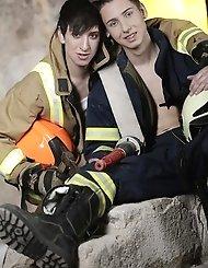 Two fireman, Thomas and Johny give cocks an...